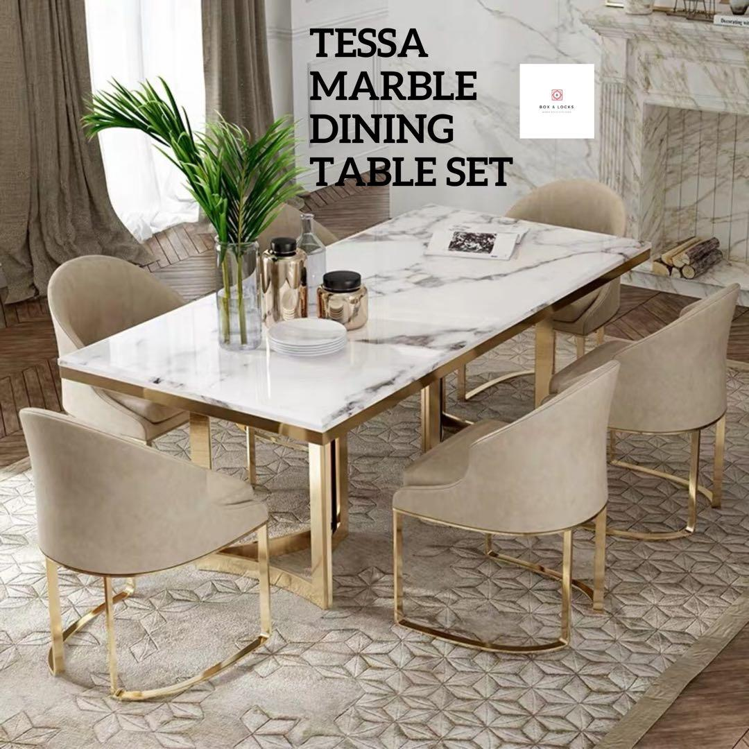 Tessa Marble Dining Table Set Furniture Tables Chairs On Carousell