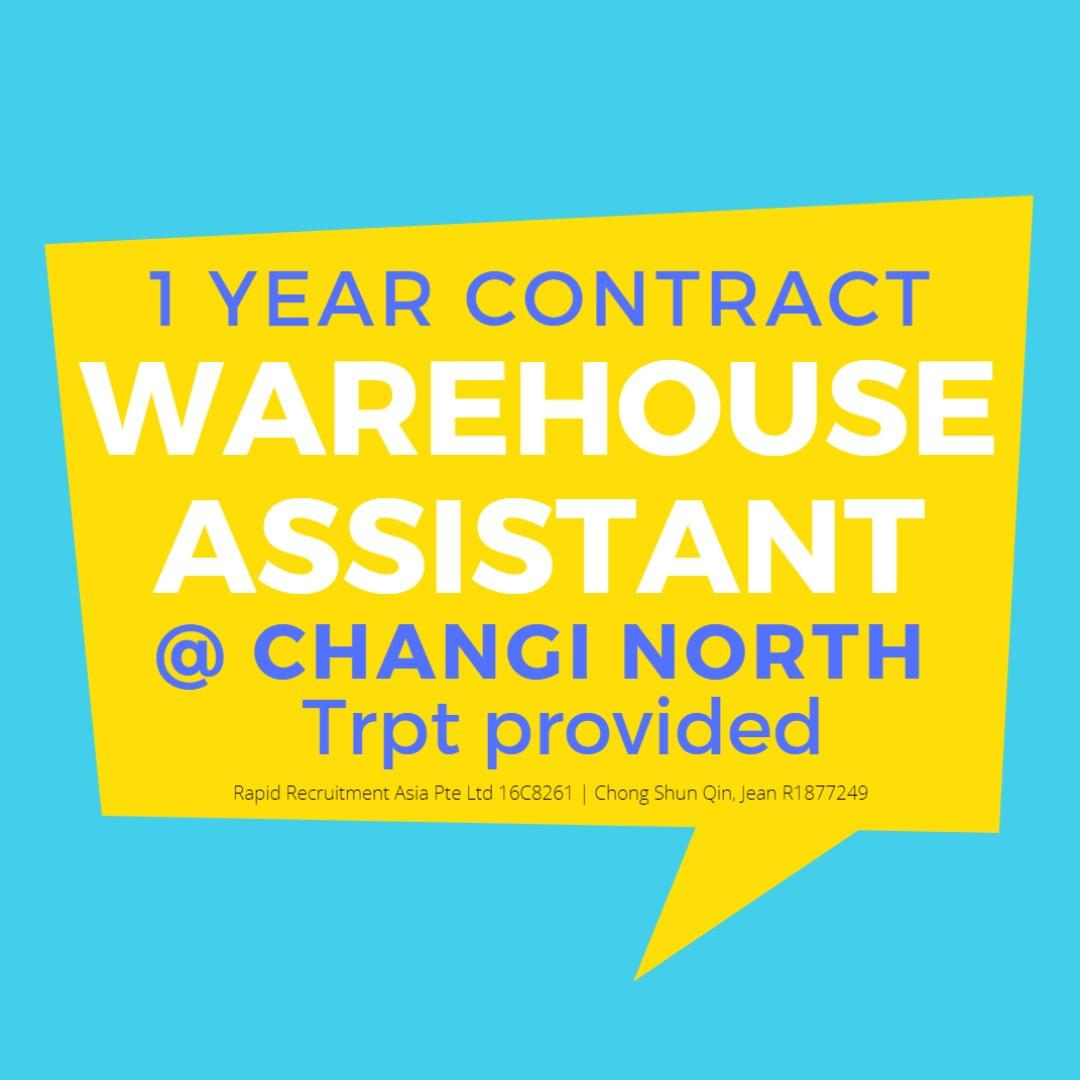 Warehouse Assistant (Gross $2800/Changi/Trpt Provided) - JQ