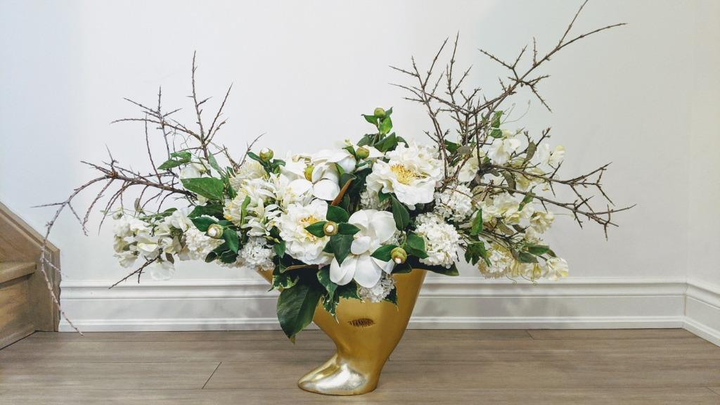 White Peony Floral Arrangement with Brushed Gold Vase