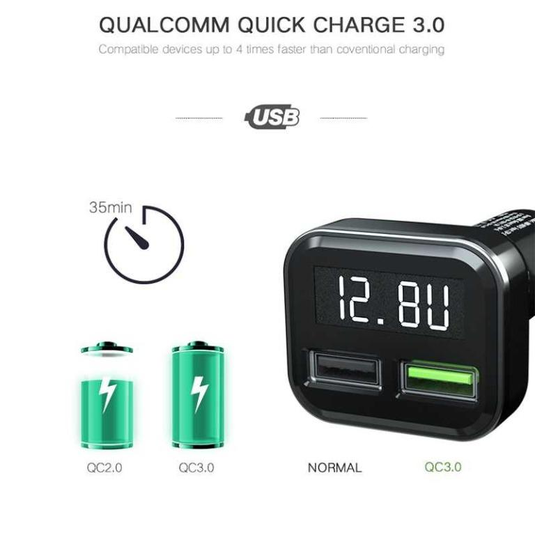 YPAY Car Charger Smartphone 2 Port 3.1A QC3.0 LCD Display - KMD-KN315 TItanGadget