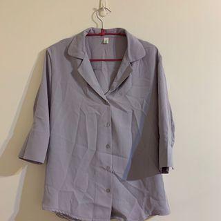 淡紫色七分袖滑面襯衫