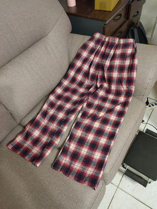 S-M都可穿的😎ins風😎帥氣紅格紋老爺褲