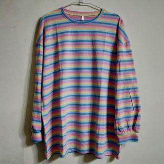 長袖舒適棉質彩色繽紛條紋長版寬衣彩虹小馬休閒衣彈性T