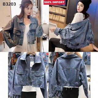 B3203 Ripped Crop Denim Jacket Import jaket jeans import crop jaket jeans crop