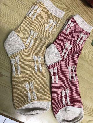 日本立體織紋餐具棉襪(兩雙)