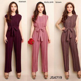 JS4719 Kanaya Plisket Maxi Jumpsuit plisket jumpsuit tanpa lengan jumpsuit import jumpsuit polos jumpsuit kulot jumpsuit formal jumpauit ikat