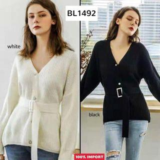 BL1492 Belted Real Knit Blouse Premium blouse rsjut import blouse kancing blouse korea blouse panjang rajut blouse belt