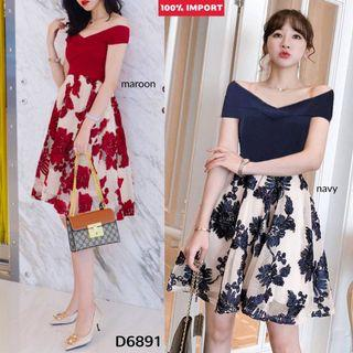 D6891 3D Crochet Sabrina Luxury Dress sanrina dress pesta dress kondangan dress pendek sabrina dress kombiansi dress brukat sabrina