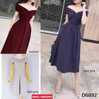 D6892 Big Bow Sabrina Dress pendek sabrina dress sabrina polos dress pesta dress kondangan dress party dress sabrina kekinian