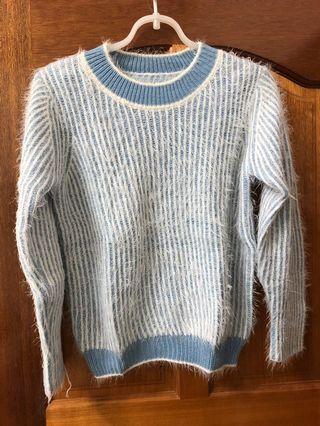 二手/baby blue直條紋毛毛上衣