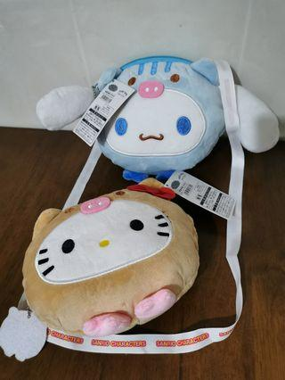 Japan Sanrio Kawaii  Cute Characters Plush Soft Doll Toy Patung With Tag Sling Bag Hello Kitty Melody Pompompurin Cinnamoroll