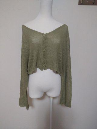 Airspace 短版 排扣 薄 針織 外套 寬袖 可愛 墨綠 類似款