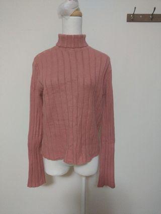The lemon 桃紅 紅色 高領 暖 保暖 舒適  長袖 上衣 針織衣服