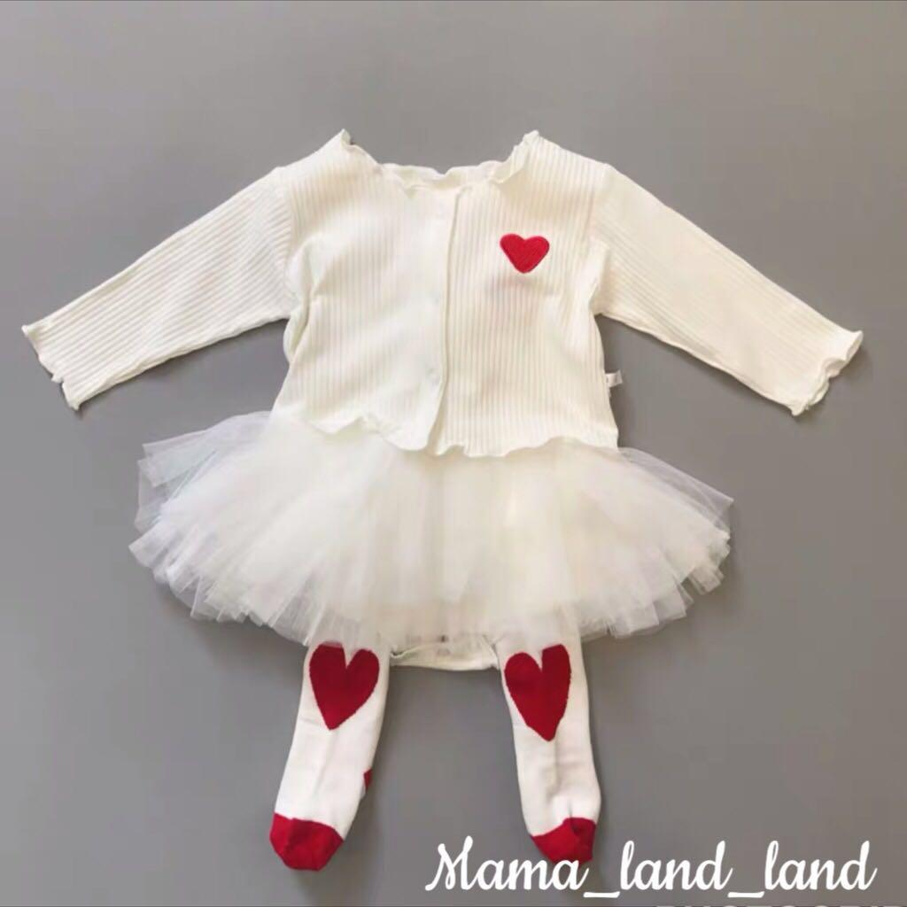 <100 days Gift 🎁 > Lovely little price red heart embroidered white lace bodysuit + cardigan + ribbon headband + stockings@Set ( total = 4 pcs)
