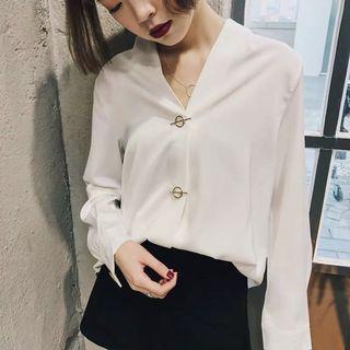 韓系風格 金扣襯衫 緞面襯衫 💋微瑕疵 現貨快速寄出 韓風 港風 復古風