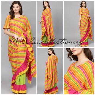 Adaa Collections   Ready to Wear Pure Cotton Leheriya ruffle saree   Women Wear  