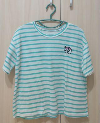 白綠條紋短袖T恤 二手