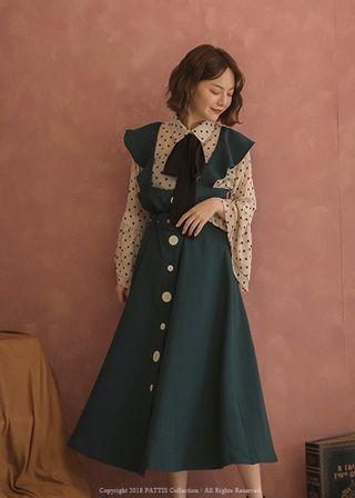 PATTIS 🎄復古 氣質 腰帶 荷葉邊 吊帶裙 A字裙 長洋裝 綠色 復古綠