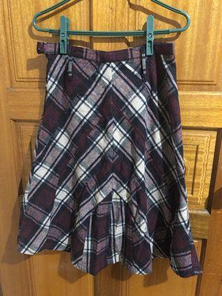 紫米色格子長裙