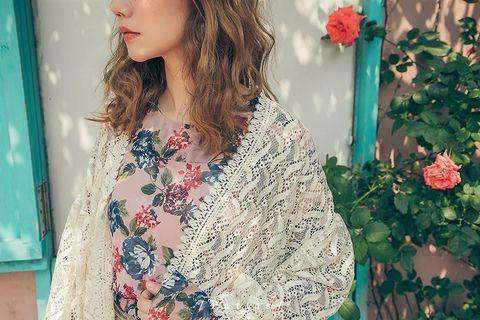 PATTIS 🎈甜美 田園風 野餐 萌系 鄰家女孩 泡泡袖 蕾絲 罩衫 外套 米杏色