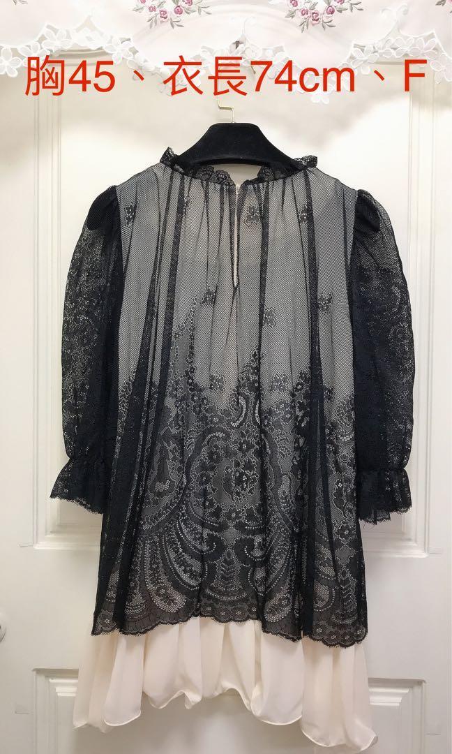 正韓🇰🇷9.5成新/適F約M/超美珍珠領蕾絲洋裝、極新