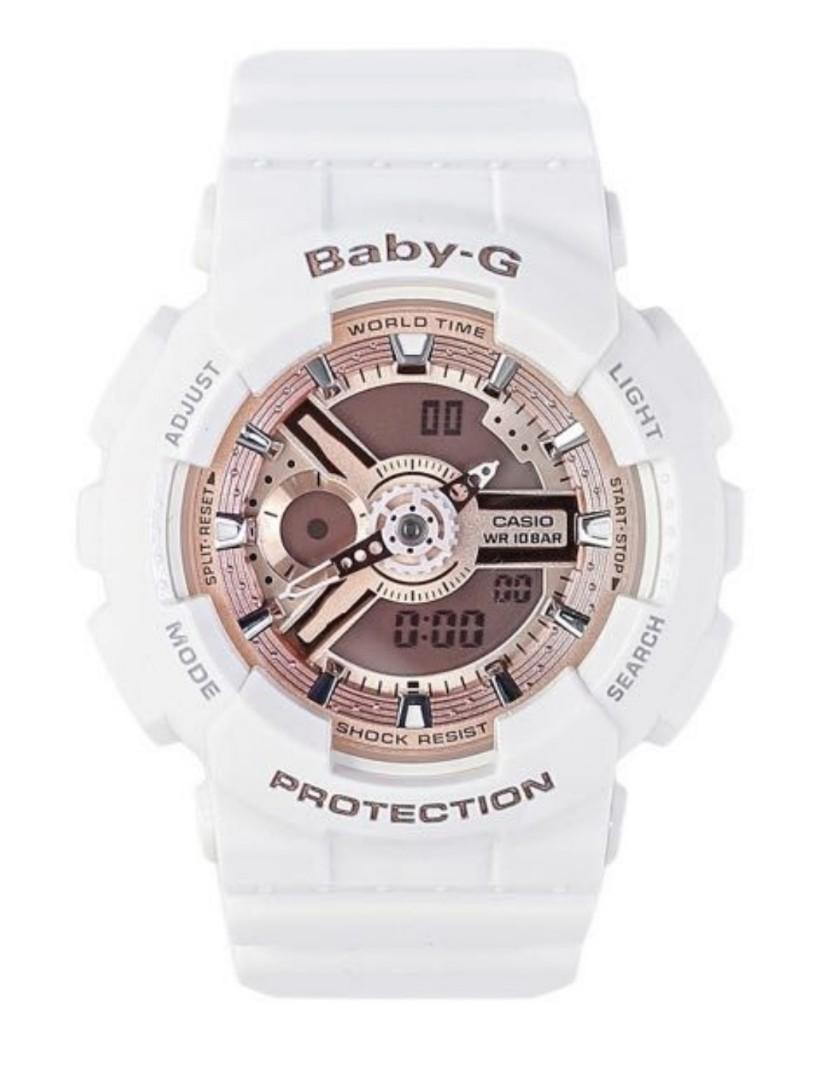 95%New Casio BABY-G BA-110-7A1白玫瑰金 White rose gold
