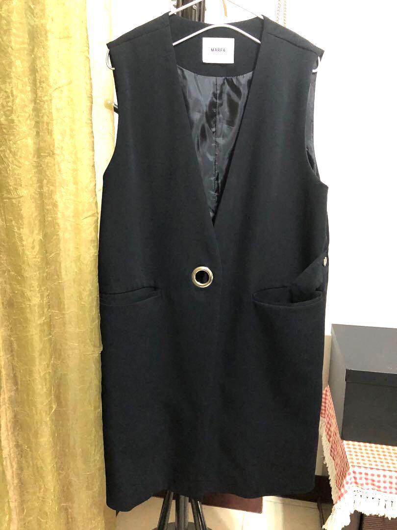 《沒韓標》的正韓貨 有內裡長版西裝面料背心洋裝