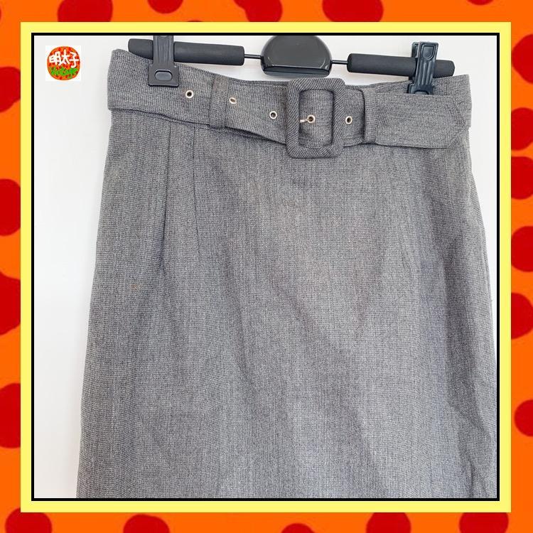 二手 灰色 毛料 附一條腰帶 窄版 高腰 短裙 明太子 B1120