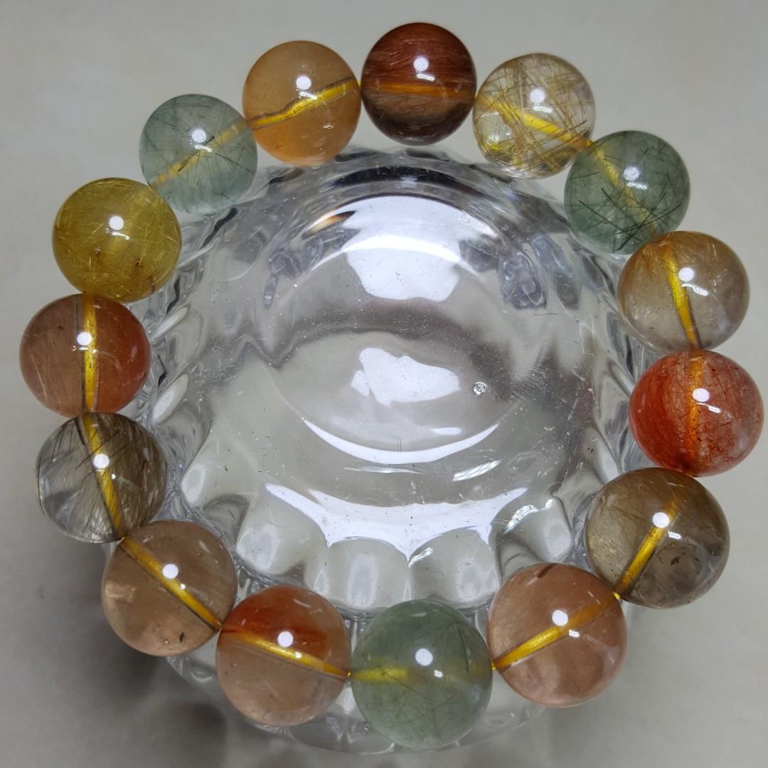 天然晶石 巴西彩髮水晶 手鏈 A0301