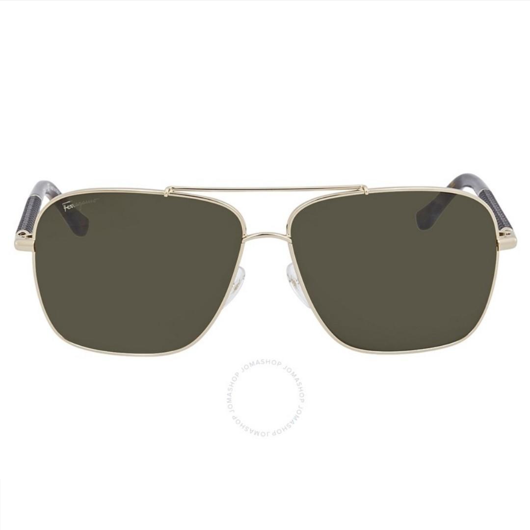 (官網限時優惠) 🔥Salvatore Ferragamo Men Aviator Sunglasses Shiny Gold/Gunmetal🔥 . 聖誕優惠價▶️$699 . Size: Lens 59mm