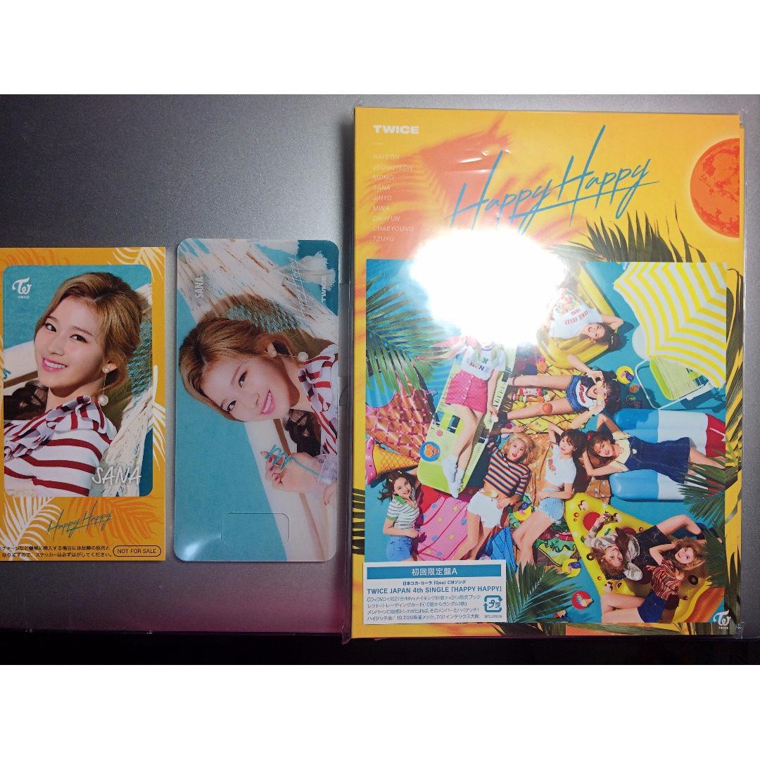 清貨蝕讓 Twice Happy Happy 初回限定盤A CD DVD 日本版 附特典 書籤 IC 卡貼紙 小卡 SANA