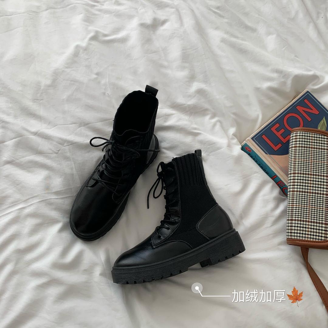 AC1021 (全新) 女裝 短靴靴子英倫風針織拼接皮鞋加絨馬丁靴顯瘦中筒靴潮