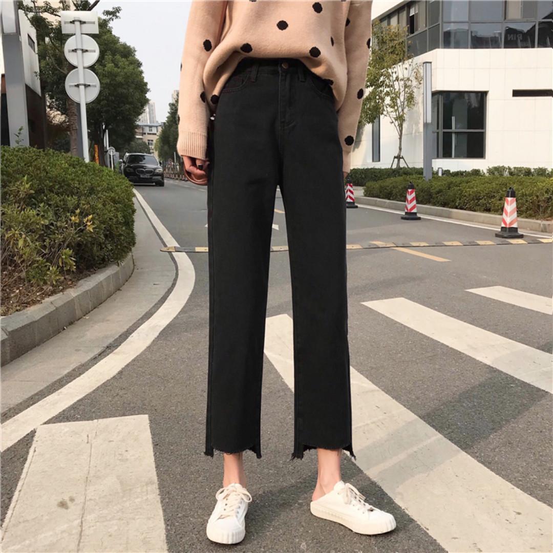 AC1112 (全新) 女裝 黑色女士牛仔褲潮超火褲子水洗高腰寬鬆直筒長褲