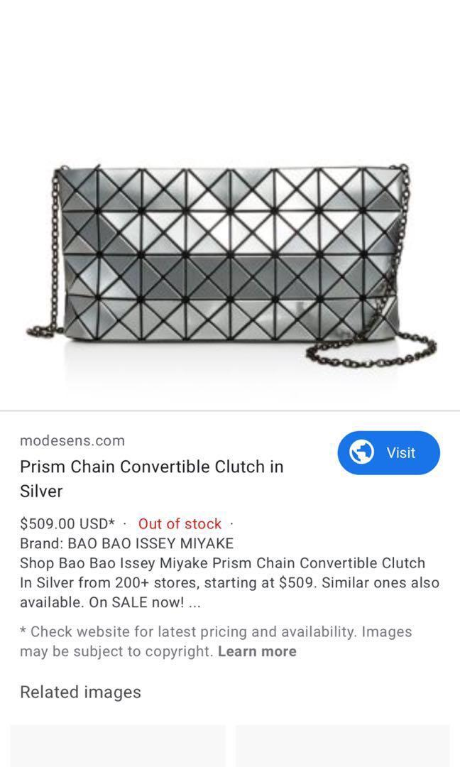 Bao Bao Issey Miyake Prism Chain Convertible Clutch in Silver