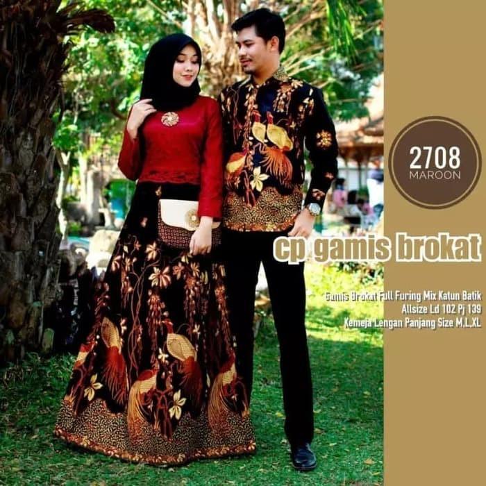 Batik Couple gamis brokat lengan panjang