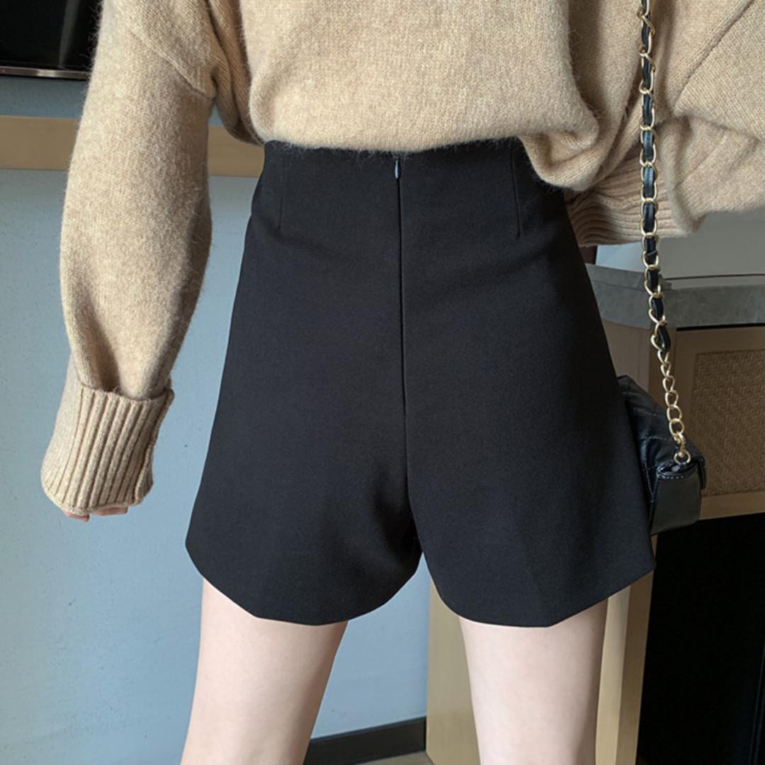 BD424 (全新) 女裝 黑色高腰休閒褲女寬鬆直筒褲顯瘦毛呢闊腿褲短褲