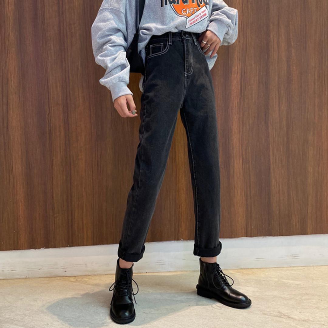 BD435 (全新) 女裝 黑色高腰牛仔褲女寬鬆顯瘦直筒褲百搭九分褲長褲