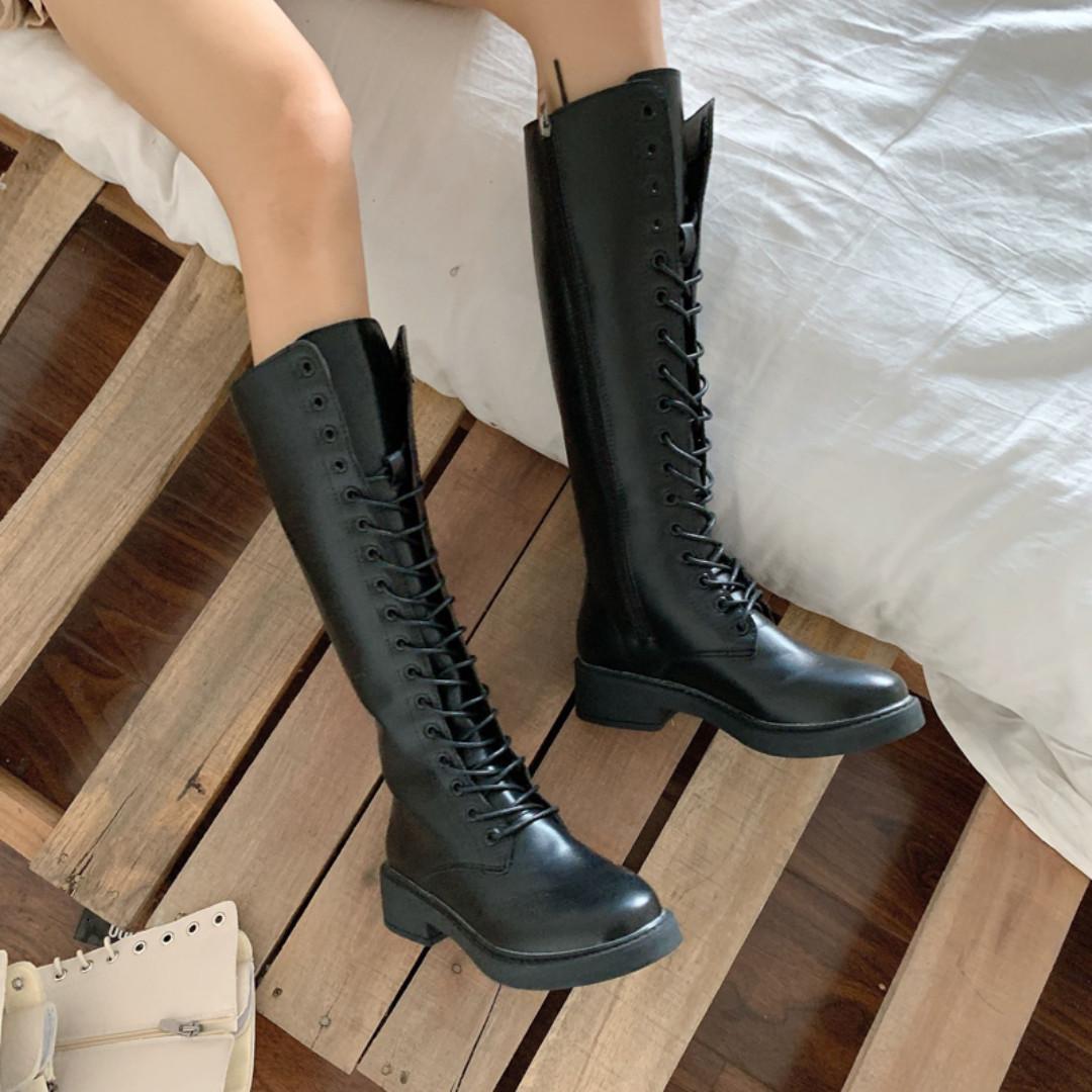 BD78 (全新) 女裝 加絨高筒靴女黑色系帶長靴顯瘦平底馬丁靴鞋子潮