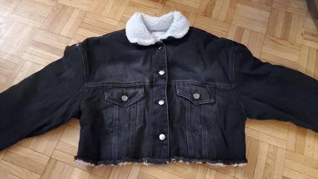 Black cropped denim jacket with wool collar from Fashion Nova (Size:Small)
