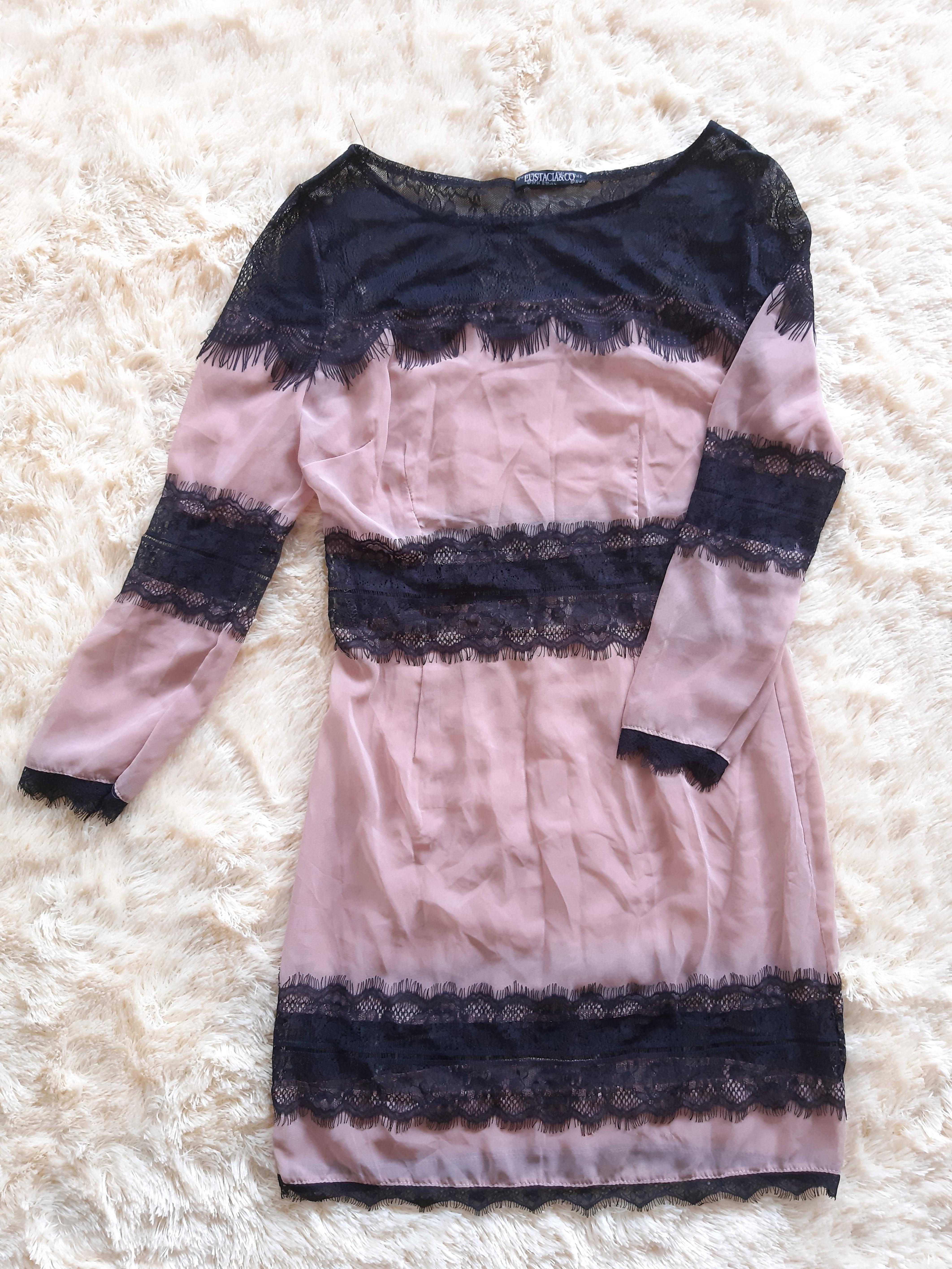 Black nude lace dress