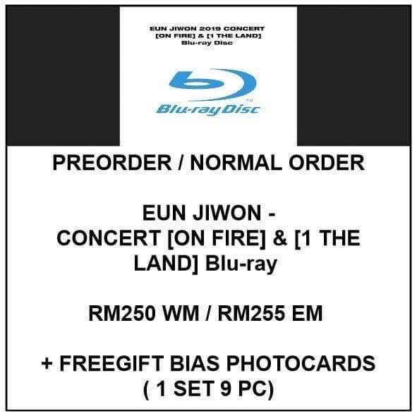BLURAY EUN JIWON - CONCERT ON FIRE & 1 THE LAND Blu-ray   - PREORDER AND NORMAL ORDER/GROUP ORDER/ALBUM GO - FREE GIFT BIAS PHOTOCARDS (1 ALBUM GET 1 SET PC, 1 SET GET 9 PC)