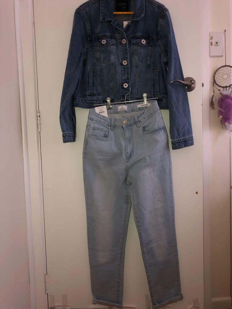 BRAND NEW cotton on SET denim mom stretch jeans AND girlfriend denim jacket