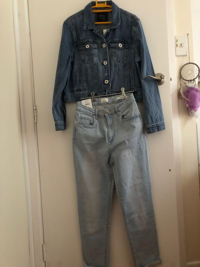 BRAND NEW cotton on SET denim mom stretch jeans AND girlfriend denim jacket