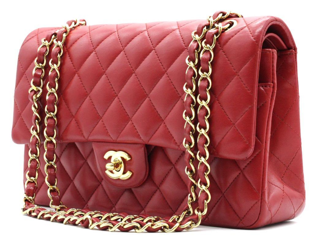 CHANEL Lambskin Classic Red Medium Double Flap Bag