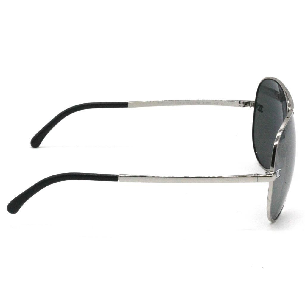 CHANEL Silver Aviator with Quilted Leather Sunglasses