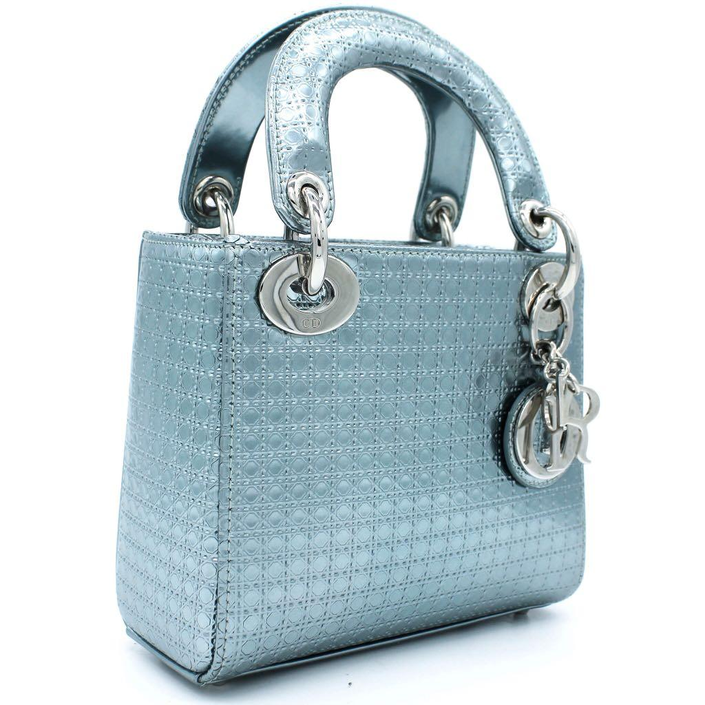 CHRISTIAN DIOR Metallic Calfskin Micro-Cannage Mini Lady Dior