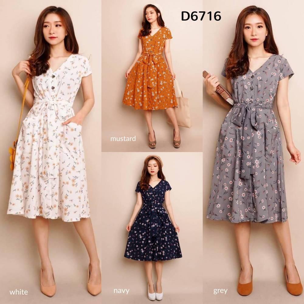 D6716 Freja Floral Pocket Dress motif kekinian dress pendek motif dress pantai dress kancing dress busui