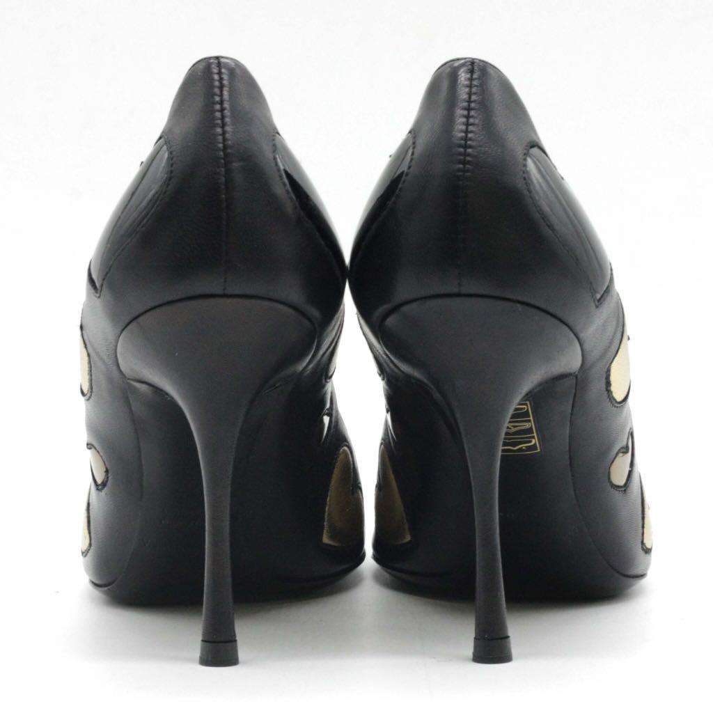 DOLCE & GABBANA Black Leather with Hearts Appliquè Heels