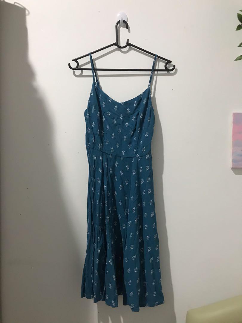 Dress Floral / Dress Pantai / Dress Vintage / Blue Dress