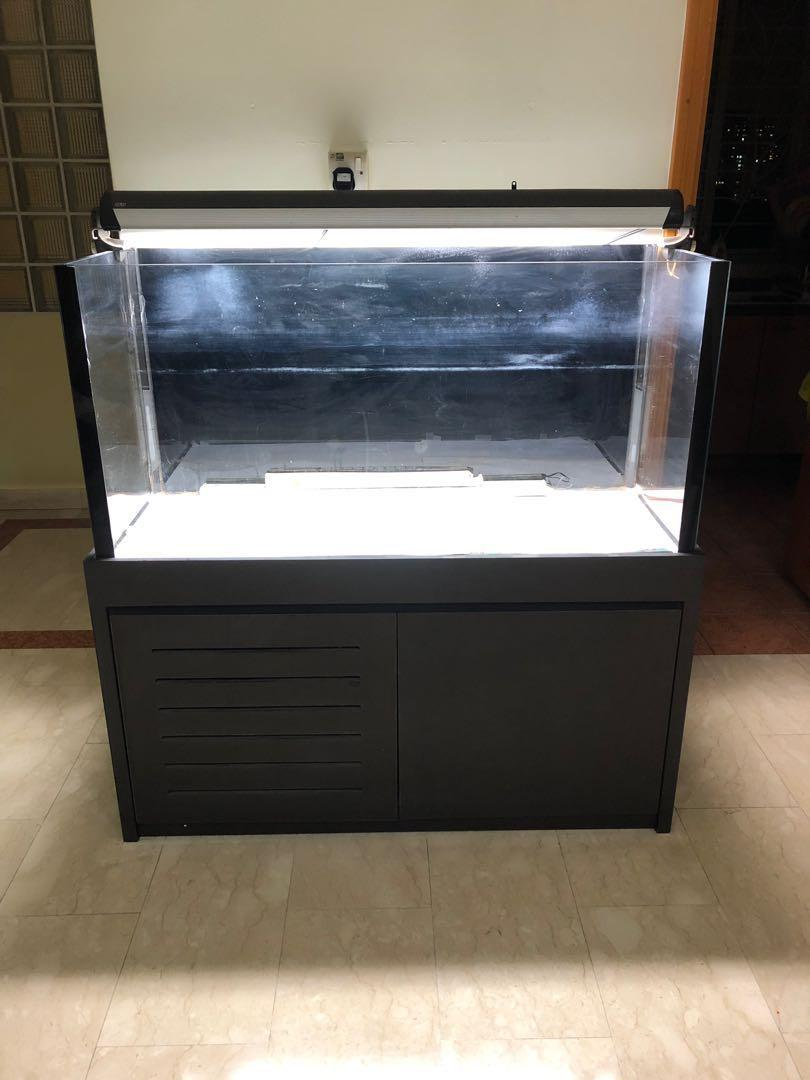 fish aquarium tank with cabinet (all custom made)(with ultra clear glass)